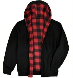 Victory Outfitters Menand039s Reversible Hooded Buffalo Plaid Fleece Jacket