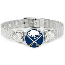 Buffalo Sabres Womens Adjustable Silver Hearts Bracelet Jewelry Gift D26