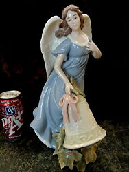 Gorgeous 13t Porcelain Woman Angel W Bell And Holly Figurine Christmas Lladro