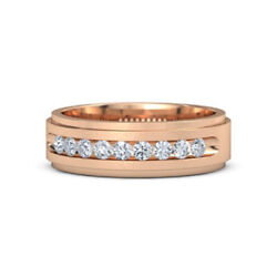 0.49 Carat Natural Round Cut Diamond 14k Solid Rose Gold Mens Bands Size 9 10 11