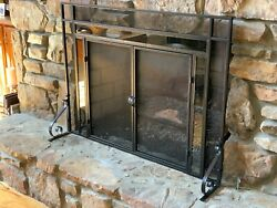 Decorative Fireplace Screen With Glass Accents-black Finish Medium