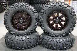 Yamaha Grizzly 660 27 Quadking 14 St-4 Red / Blk Atv Tire And Wheel Kit Irs1ca