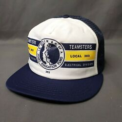 Vintage 80and039s Teamsters Union Local 363 Snapback Mesh Electrical Workers Usa Nos