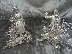 Antique Solid Silver Novelty Large 12cm Romantic Menu Holders Chester 1901