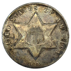 1861 Three 3c Cents Silver Uncertified Civil War Coin