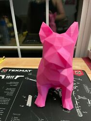 French Bulldog Statue Pink Color Life Size almost HUGE COOL LOW POLY