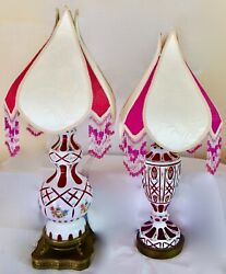 Pair Bohemian Moser Luster Lamps W/ Shades .white-cut-to-cranberry + Florals.