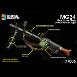 Dml 77006 1/6 Mg34 Machine Gun With Anti-aircraft Sight Model For 12 Soldiers