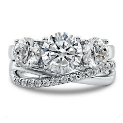 2.29 Ct Round Cut Real Diamond Band Set 14k Solid White Gold Rings Size 4 5 6 7