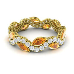 3.40 Ct Real Citrine Diamond Eternity Band Solid 14k Yellow Gold Size 6 7 8 9