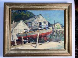 Helen Gapen Oehler Listed Artist Coastal Houses And Boat Impressionist Painting