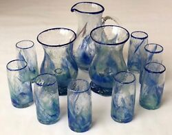 Authentic Glass From Biot France - Hurricane Lamp And Jug Green Blue