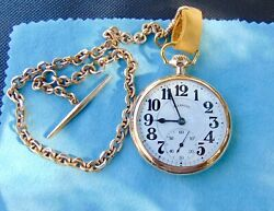 10k 1926 Illinois Railroad Grade Pocket Watch With 12k Gold Filled Chain