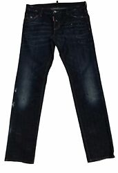 Dsquared2 Mens Dark Blue Denim Lite Distress And Paint Button Fly Jeans Size 50
