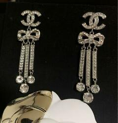 Crystal Ribbon Bow Long Earrings Rare Original Jewelry Unused F/s From Jp