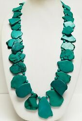 Nwt Lucoral Deep Turquoise / Aqua Blue Slab Sterling Silver Long Necklace 32