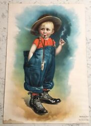 Antique Victorian Advertising Sign Great Western Cereal Mothers Oats Naughty Boy