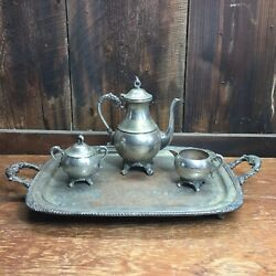Vintage Silver On Copper Coffee/tea Pot/sugar Cup/ Milk Cup With Spout Tray