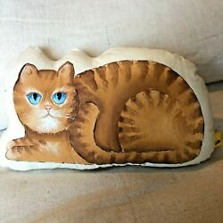 A cute painted by hand cat pillow