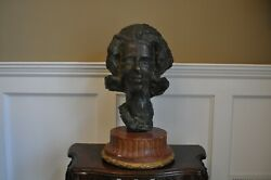 Antique Vintage Large Heavy Bronze Lady Bust Statue 67 Pounds With Marble Base