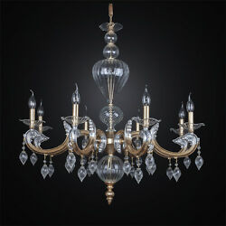 Chandelier Murano Classic Leaf Gold And Silver A 8 Lights Bga 2675/8