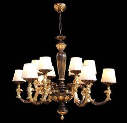 Chandelier Classic Wooden Leaf Gold And Brown A 12 Lights Coll. Bga 1610
