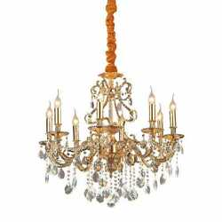 Chandelier 8 Lights Gold With Crystals Dl1572