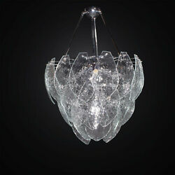 Chandelier Contemporary With 36 Glass Murano Clear 6 Lights Bga 3020-36v