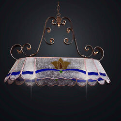 Chandelier Classic In Fused Glass Decorated 2 Lights Bga 2086-s83