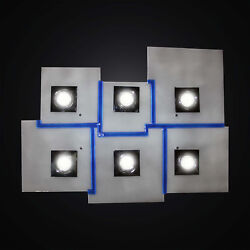 Ceiling With Spotlights In Fused Glass White And Blue 6 Lights Bga 2984-pl6