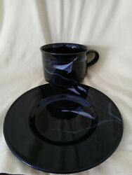 Mikasa China Opus Black Galleria Fk701 Calla Lilly 9 Cups And 10 Saucers Excell