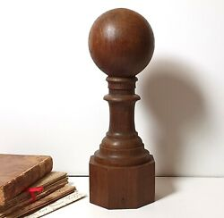 Tall Antique Wood Newel Post Finial Ball Stairwell Bannister Wooden Topper 11.3