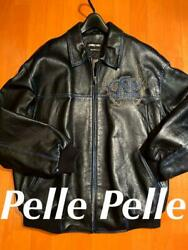 Pelle Pelle Authentic Leather Jacket Black L Used From Japan