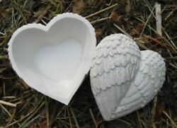 Latex Heart Angel Wings Trinket Box Mold Cement Plaster Concrete Casting Mould