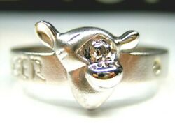 Size 6 Auth Disney Winnie The Pooh Tigger Sterling Silver Platinum Band Ring
