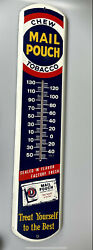 """Vintage Chew Mail Pouch Tobaccothermometer Advertising Sign 39""""x8"""""""
