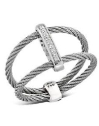 Alor Classique Separated Silver Cable Ring With Diamond Bar Separator Stations