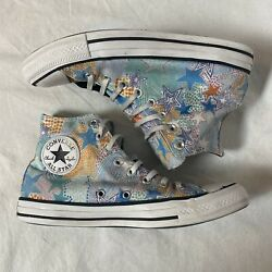 Converse Hi Top Chuck Taylor All Stars Multicolor Star Pattern Womens Size 9 Us