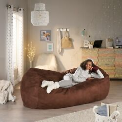 Adult Bean Bag Chair Giant Lazy Couch Dorm Furniture 8 ft. Sofa Lounge Brown