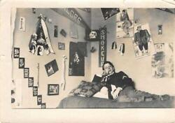 College Room Interior quot;Smoke Upquot; Posters Skull Odd Weird 1909 Vintage Photo