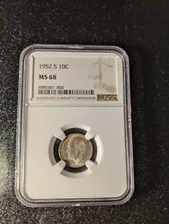 1952-s Roosevelt Silver Dime Ngc Ms-68 Extremely Rare