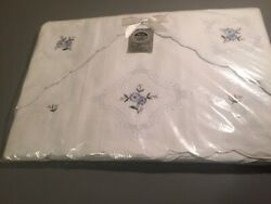 Vintage Hand Embroidered Sheet Double Flat 2 Pillowcases Heritage Nwp