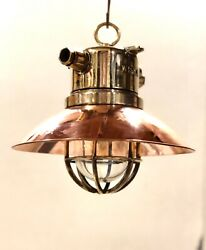 Old Authentic Ship Brass And Copper Hanging Loft Pendant Wiska Light Lot Of 10