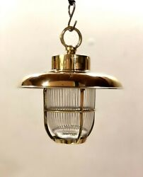 Grizzled Antique Original Ship Brass Passageway Hanging Light With Shade Lot 10
