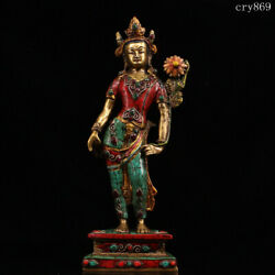 Collection Tibet Jokhang Temple Old Antique Pure Copper Inlaid With Gems Tara