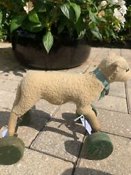 Rare Antique Steiff Lamb On Wheels Pull Toy Rare-1900s