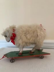 Antique French Sheep On Wheels Pull Toy-1900s