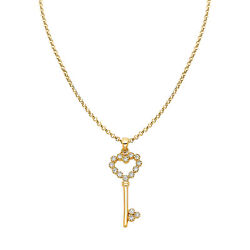 14k Yellow Gold Cubic Zirconia Key To My Heart Pendant With 1.2mm Rolo Chain
