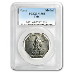 1925 Norse-american Silver Medal Ms-63 Pcgs Thin Planchet - Sku153838