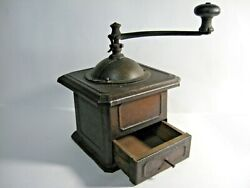 Rare Vintage100 Old Metal Table Box Coffee Mill Grinder Antique Peugeot Freres